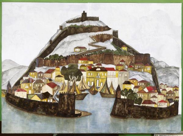 Lepanto - Stadt und Felsen. 1979, Mischtechnik auf Bütten, 102x140cm, Pinakothek AthenImage